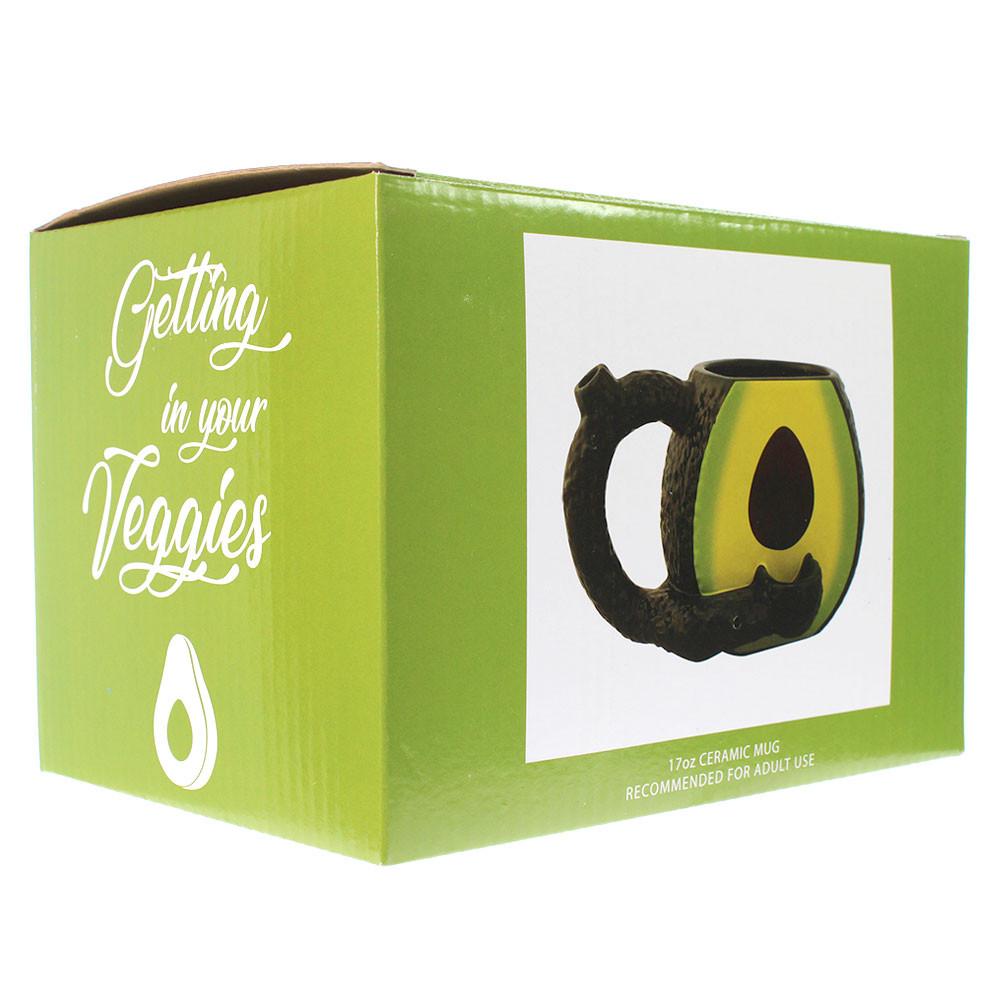 Boxed avocado mug pipe.