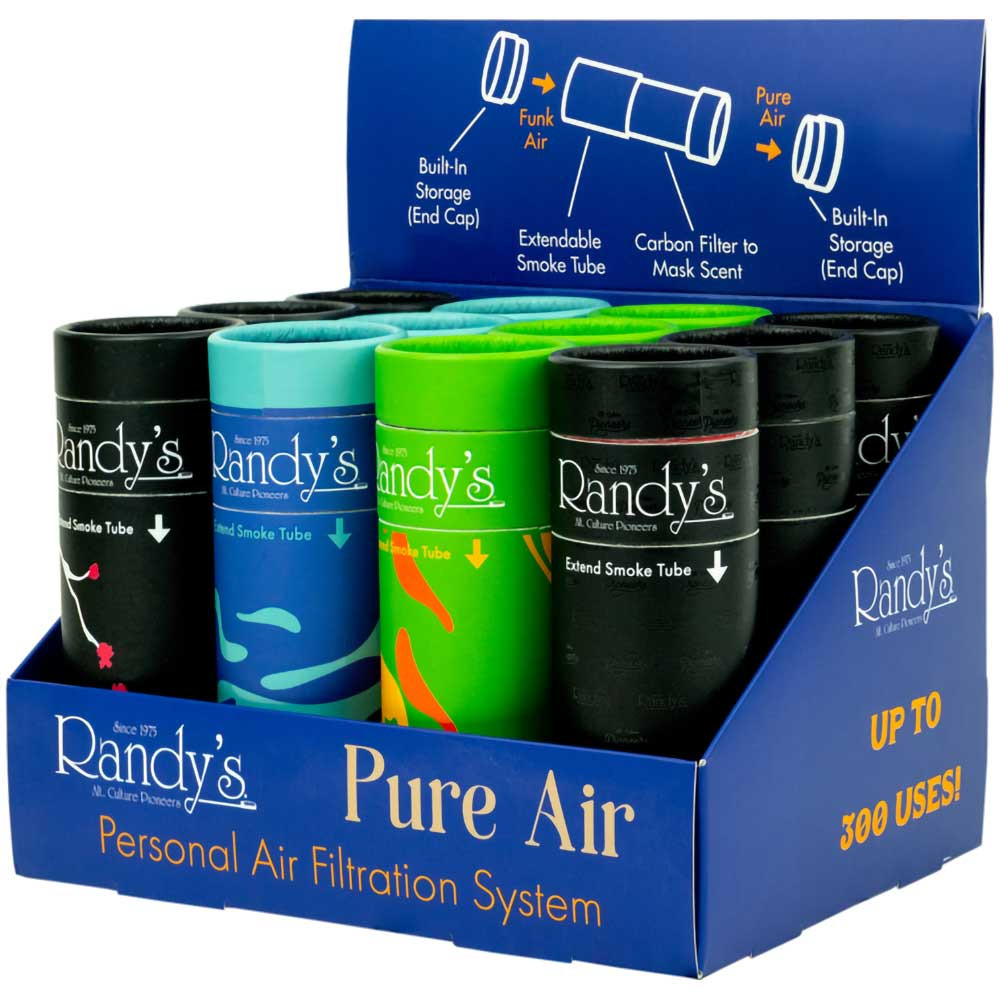 An open display box containing 12 Randy's Pure Air filters.