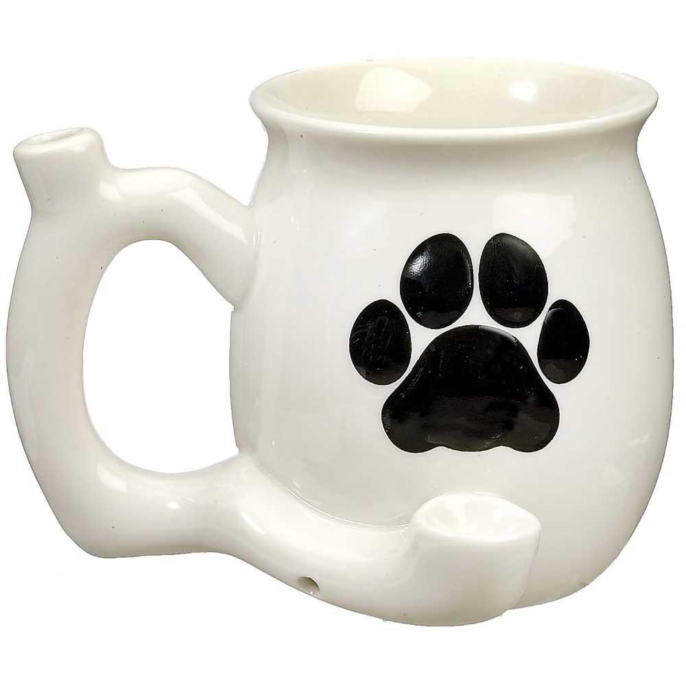 Dog Paw Coffee Mug Pipe, White with Black Paw