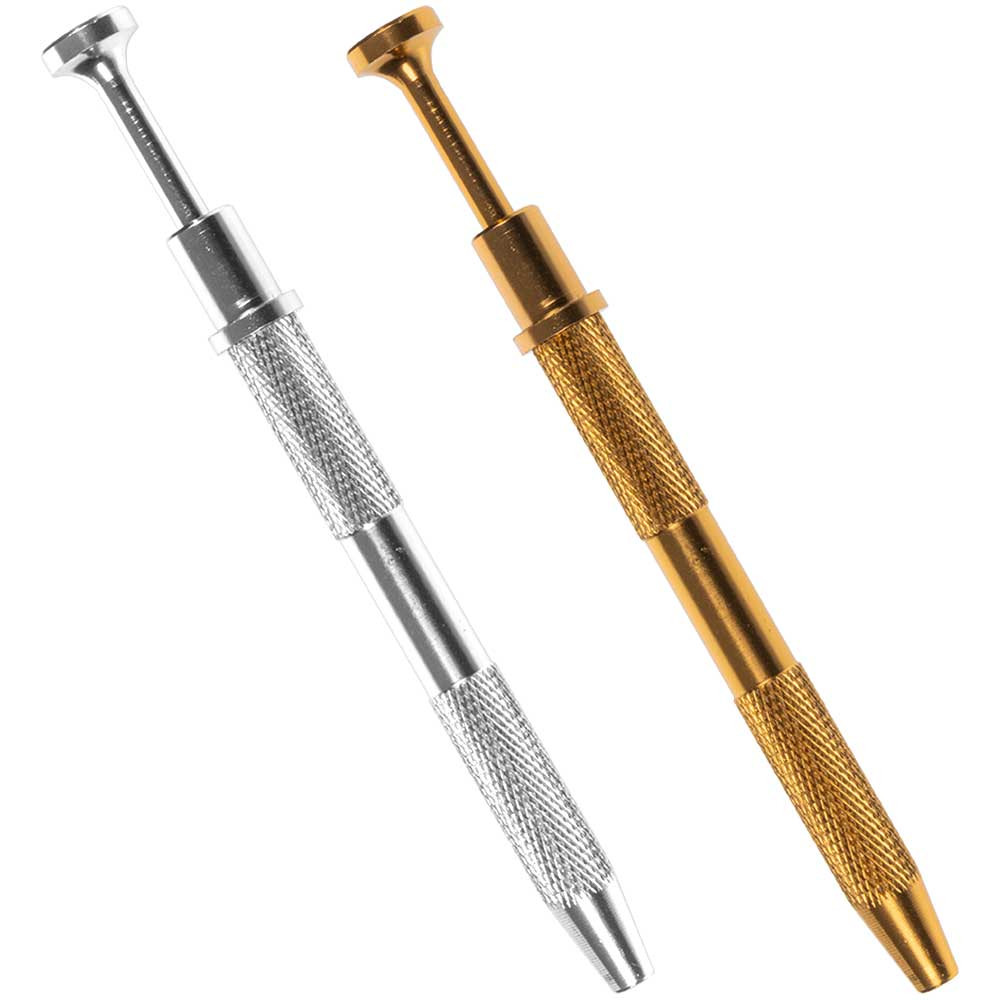 A silver terp pearl grabber and a gold terp pearl grabber.