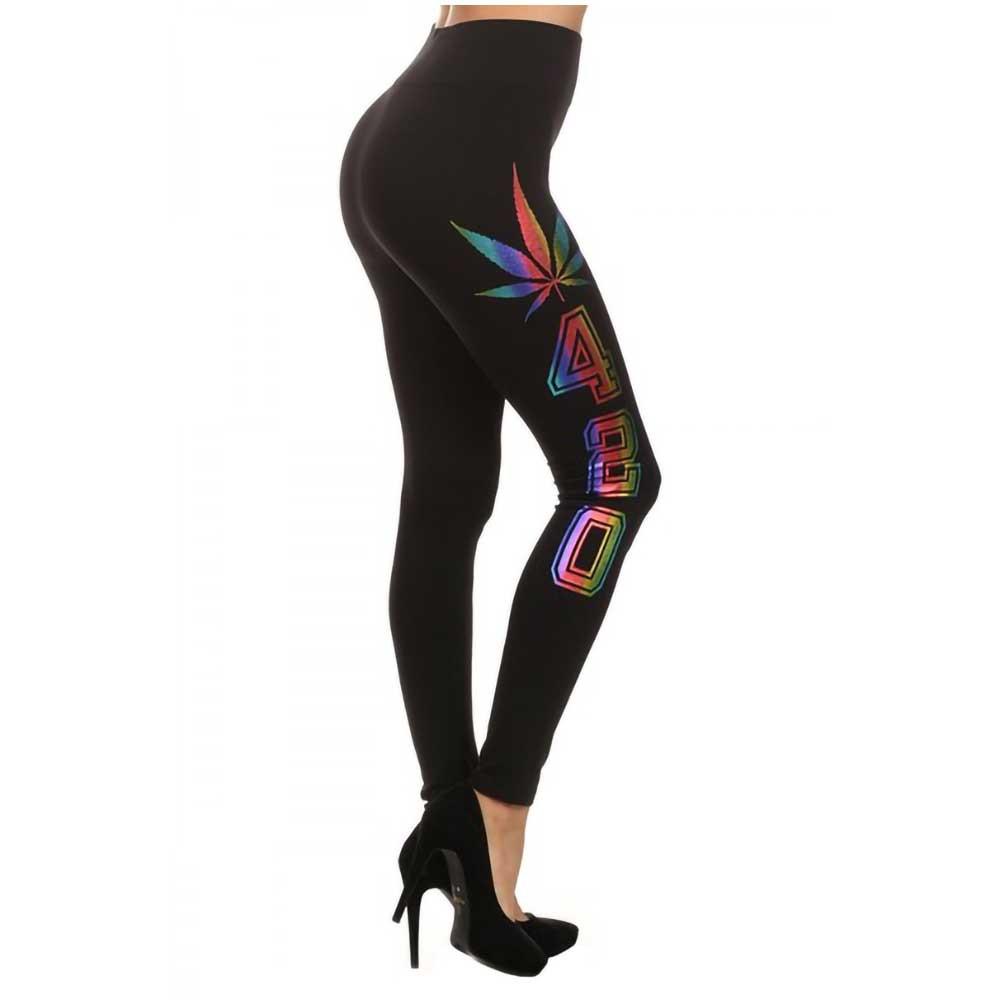 Black Leggings with Rainbow 420 and Leaf Print