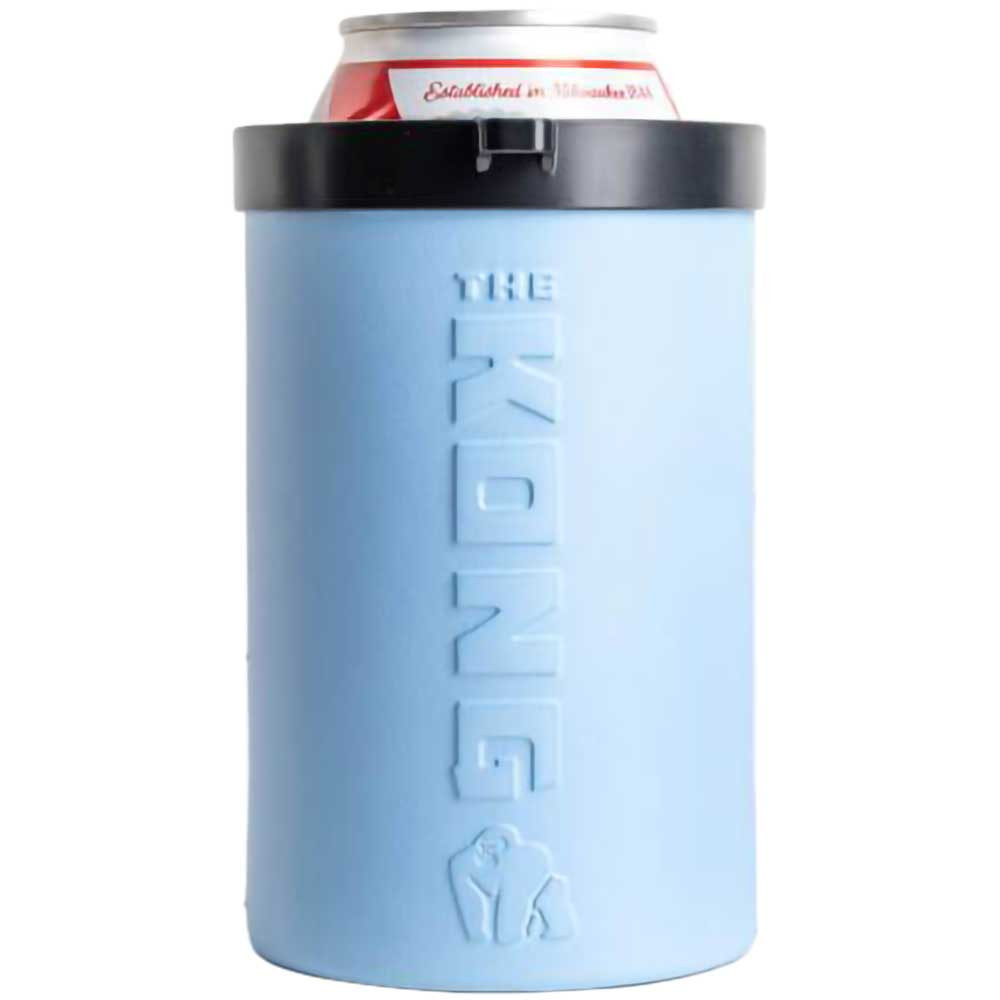 Front view of a single blue Kong Beer Can Cooler.