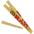 An open packet of Raw Classic 1 1/4 Pre-Rolled Cones.