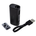 Black silo cartridge vape with easy to use adapters and charging cable.