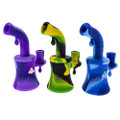 Food grade safe silicone banger hanger oil rig with honeycomb and bee design.