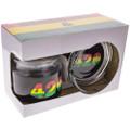 Quarter view of this Rasta 420 Ashtray and Stash Jar Set boxed together.