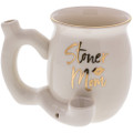 Stoner Mom Pipe Mug with gold foil text and accent.