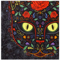 Close, detailed view of the artwork on this Sugar Kitty tapestry.