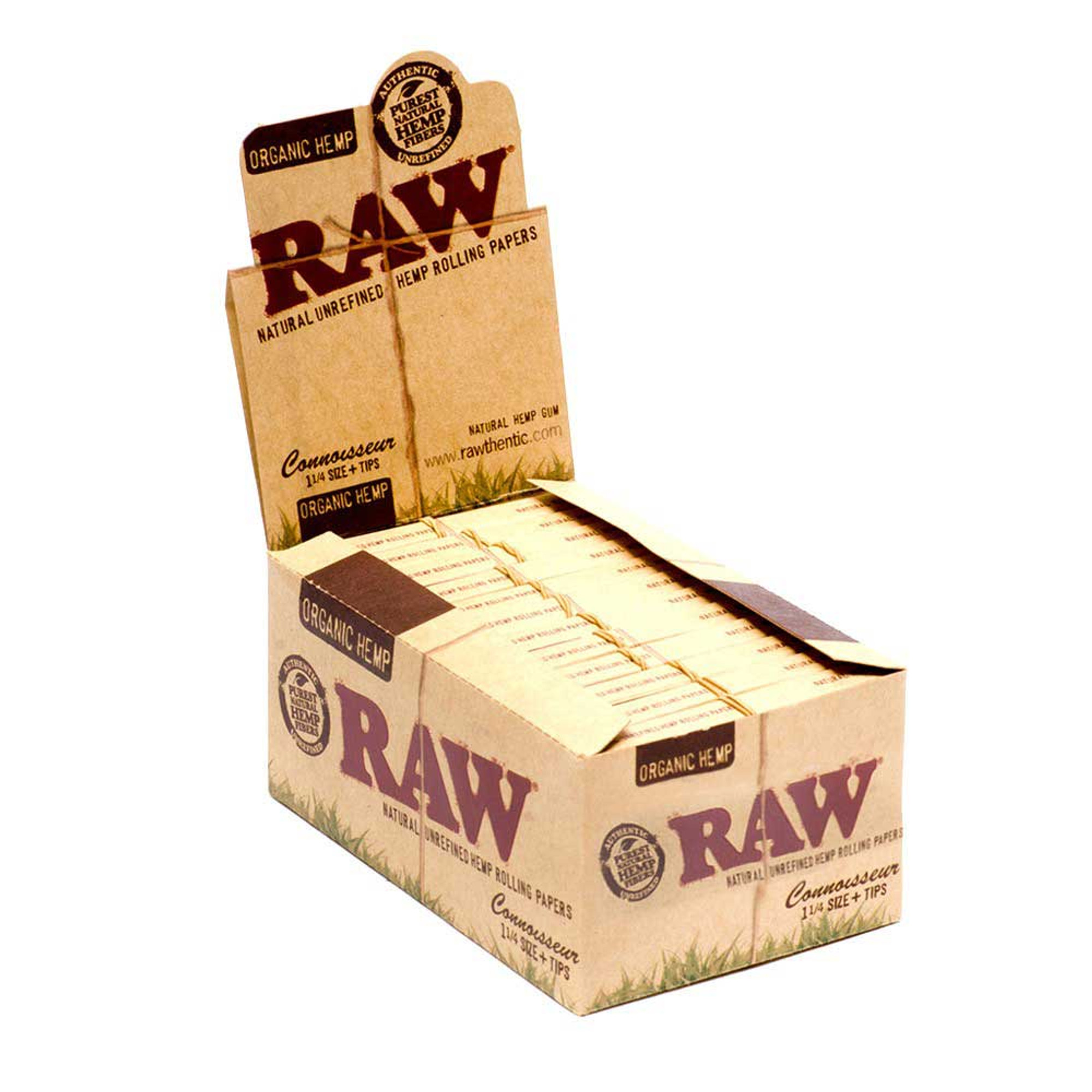 RAW Organic Hemp 1 1//4 Natural Unrefined Rolling Papers 5 Booklets