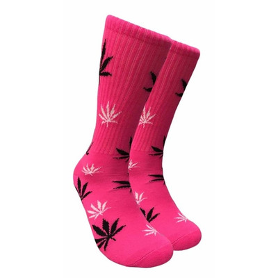 Pink Crew Socks - Black & White Leaf