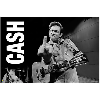 "The infamous Johnny Cash Middle Finger picture on a 24"" x 36"" poster with the word ""CASH"" on the left side."