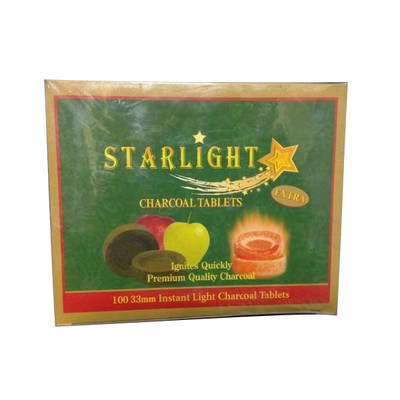 Starlight 33mm Instant Light Apple Flavored Charcoal Tablets, Roll of 10