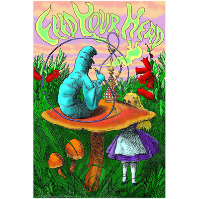 Feed Your Head Black Light Poster fantasy poster Alice in Wonderland poster.