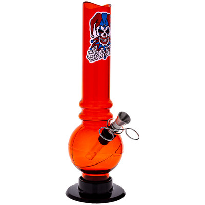"An Orange Graffix 10"" Skinny Bubble Bong at a quarter angle."