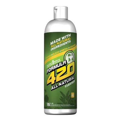 Profile view of Formula 420's All Natural Glass Cleaner. At about 2 oz per use, this bottle will last at least 8 cleanings. With its all natural formula it will leave glass sparkling like crystal with no adverse effects on the earth!