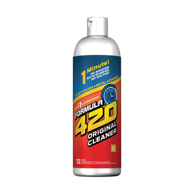 Profile view of Formula 420's Original Formula Glass Cleaner. With 12 ounces per bottle and a recommended 2 ounces per cleaning, this bottle should last at least 6 cleanings.