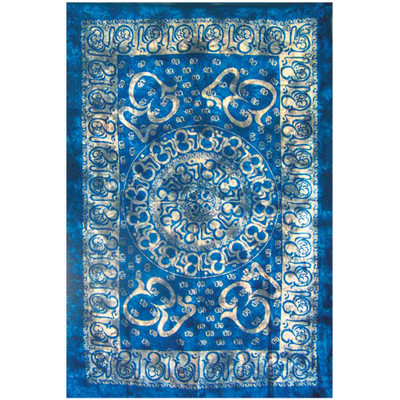 Front view of the artwork on this blue Many Ohm Full Size Tapestry.