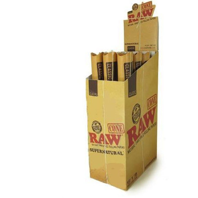 "An open display box containing 15 packets of Raw Classic Supernatural 12"" Pre-Rolled Cones."