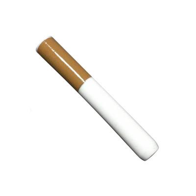 Profile view of a short quartz Glass Cigarette One Hitter Bat, Small.