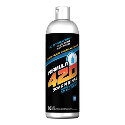 Profile view of Formula 420's Soak 'n' Rinse bottle. Simply submerge your small items for an easy clean.