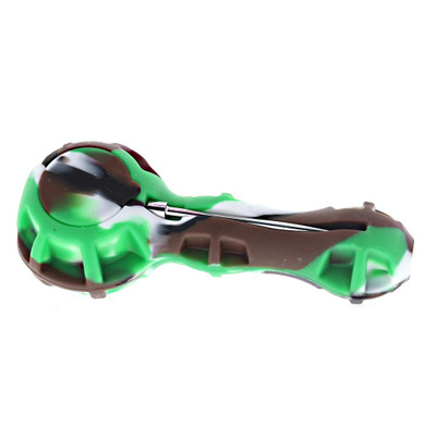 Silicone Spoon Hand Pipe with Built in Storage and Poker