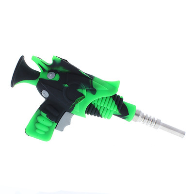 Silicone Ray Gun Nectar Collector with Ti Nail and Storage side picture