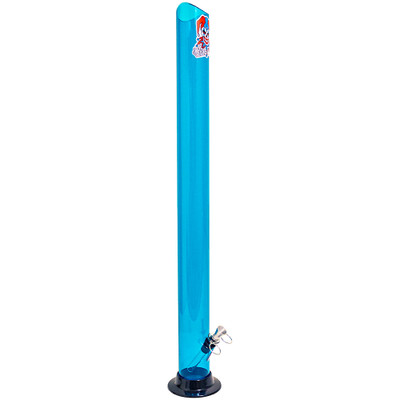 """Towering 24"""" acrylic water pipe with a 2"""" mouthpiece, in Aqua."""