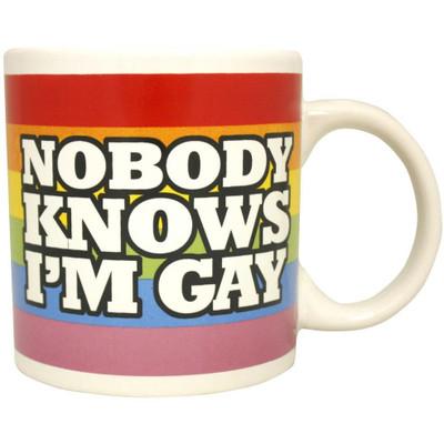 Funny Nobody Knows I'm Gay mug.