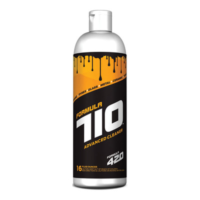 Profile view of Formula 710 Advanced Cleaner 16oz bottle. This bottle will fuel around 6 cleanings of your favorite glass, ceramic, and metal pieces.