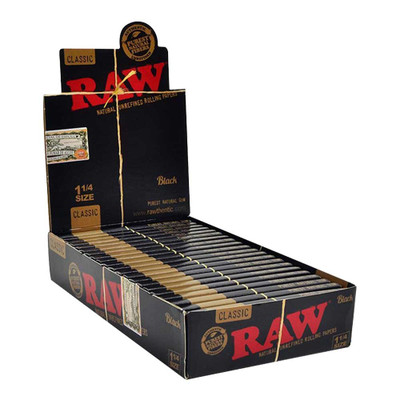 Raw Black 1 1/4 Natural Rolling Papers Box Wholesale