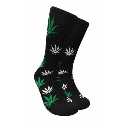 Black Crew Socks - Green & White Leaf