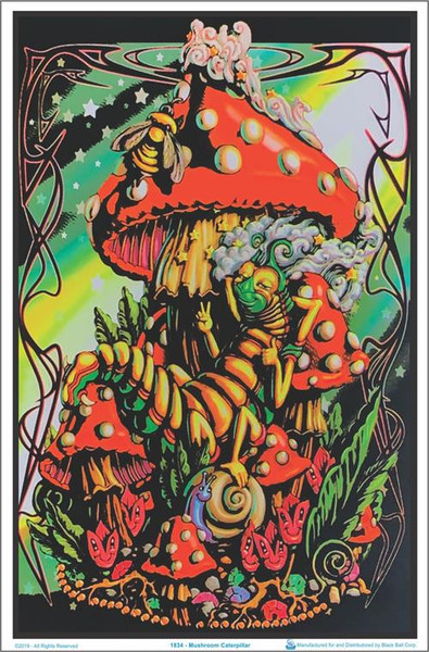 Mushroom Caterpillar Black Lighter Poster fantasy poster mushroom poster blacklight poster wall hanging.