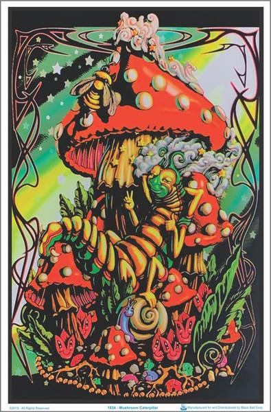 Mushroom Caterpillar Black Lighter Poster fantasy poster mushroom poster blacklight poster wall hanging.