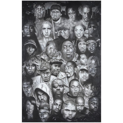 Artwork on the front of the Faces of Hip Hop Poster.