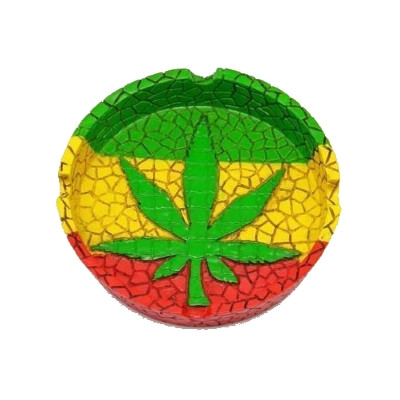 Top view of this Rasta Leaf Ash Tray with a marijuana leaf design.