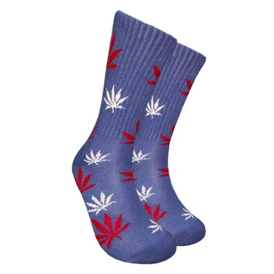 Dark Blue Crew Socks - Red & White Leaf