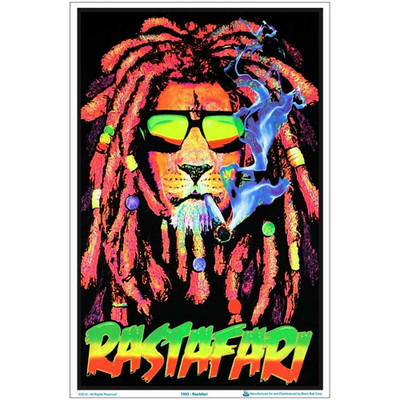 Rastafari Lion Blacklight Poster
