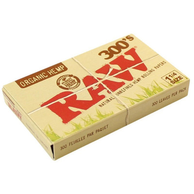 A single pack of Raw 300's Organic Hemp 1 1/4 Rolling Papers, closed.