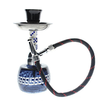 """A single 7.5"""" Super Mini Hookah with one hose attached, in black."""