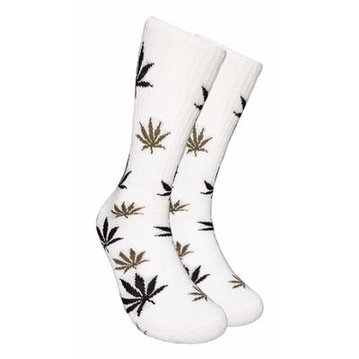 White Crew Socks - Black & Tan Leaf