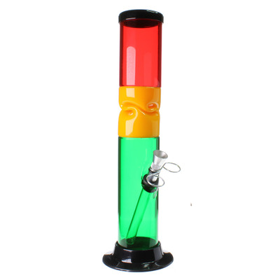 "12"" Rasta Twist Straight Acrylic Bong viewed from the front."