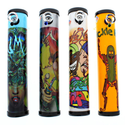 "10"" Steamroller with trippy artwork, including Pickle Rick."
