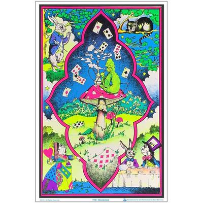 Wonderland Mushroom Flocked Blacklight Poster