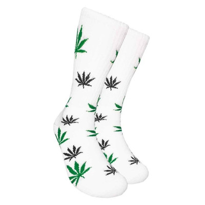 White Crew Socks - Black & Green Leaf