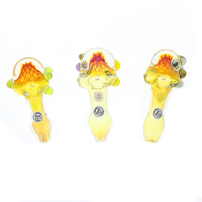 An assortment of colors and marble placements on these Ohio Valley Glass Fumed Frit Spoon Pipes.