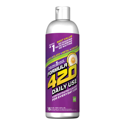 Profile view of Formula 420's Daily Use Glass Cleaner. This bottle contains 16oz of cleaner that is specially formulated for daily use, keeping all your glass, metal, and ceramic looking as clean as the day you bought it.