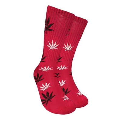 Red Crew Socks - Black & White Leaf