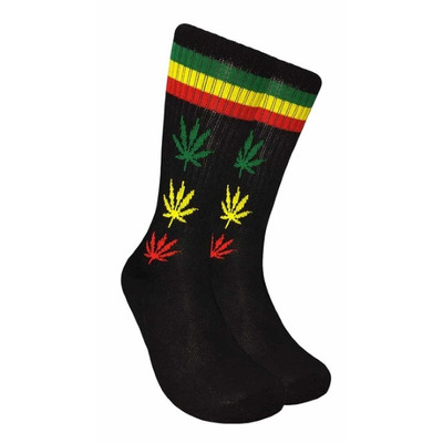 Black Crew Socks - Rasta Leaf