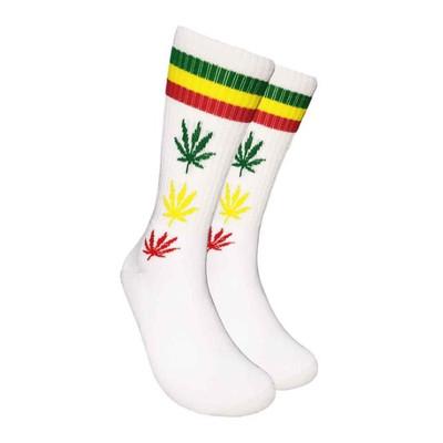 White Crew Socks - Rasta Leaf