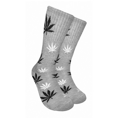Gray Crew Socks - Black & White Leaf